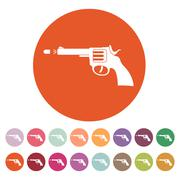 The gun icon. Pistol and handgun, weapon, revolver, shot symbol. Flat Piirros