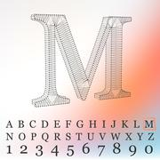 Vector illustration of letter  background. Fonts of Mesh polygonal. Wire frame - stock illustration