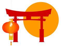 Tori Gate Icon - stock illustration