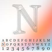 Vector illustration of letter  background. Fonts of Mesh polygonal. Wire frame - stock illustration