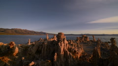 Sunrise over Tufa Formations at Mono Lake, California -Pan Right- - stock footage