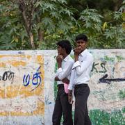 MADURAI, INDIA-FEBRUARY 15: Street of Indian city 15, 2013 in Madurai, India. - stock photo