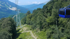 Cabs Gazprom cableway. Summer. Sochi, Russia. 4K Stock Footage
