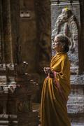 MADURAI, INDIA-FEBRUARY 16: Prayer in Indian temple on February 16, 2013 in M - stock photo