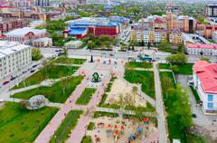 Bortsov Revolyutsii Square in Tyumen, Russia - stock photo