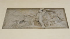 Fight scene sculpture on Brandenburg Gate's column, Berlin Stock Footage