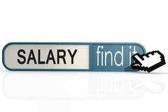 Salary word on the blue find it banner - stock illustration