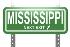 Mississippi green sign board isolated Stock Illustration