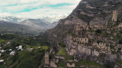 Aerial view. Ruins. Ancient abandoned village. Kakhib. Stock Footage