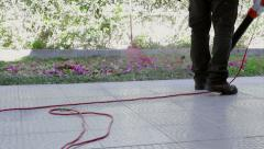 Home Gardening - Electric Blower (Shot 3) Stock Footage
