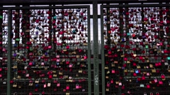 ULTRA HD 4K real time shot,The locks of love Hohenzollernbruecke in Cologne Stock Footage