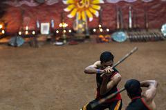 Stock Photo of KUMILY, INDIA-FEBRUARY 19: Kalaripayattu show on February 19, 2013 in Kumily,