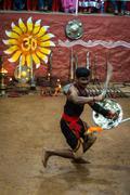KUMILY, INDIA-FEBRUARY 19: Kalaripayattu show on February 19, 2013 in Kumily, - stock photo