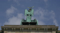 The chariot rider holding an eagle statue on top of Brandenburg Gate, Berlin Stock Footage