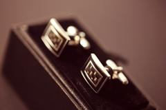 Cuff links in a box - stock photo