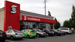 One side of Scotiabank in Pitt Meadows Canada. Stock Footage