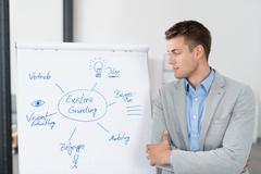 Young Businessman Looking at his Diagram on Poster Stock Photos