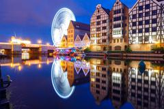 Poland. Gdansk. Quay center channel. - stock photo
