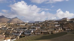 TIMELAPSE View of village in Spiti Valley,Kibber,Spiti,India Stock Footage