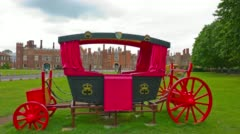 Red horse carriage, Hampton Court Palace, London Stock Footage