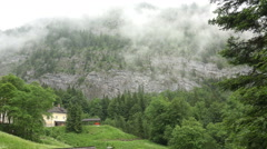 Mountain forest clouds timelapse Hallstatt Austria alps Stock Footage