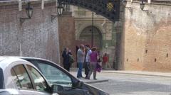 People standing near the Liars Bridge in Sibiu Stock Footage