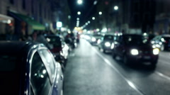 Cars standing in the traffic jam, steadycam shot Stock Footage