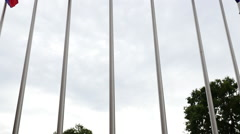 Flag Pole of Multi National Flags Stock Footage