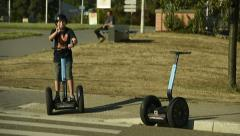 Kid on Segway personal transporter - stock footage