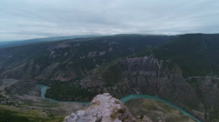 Aerial view of the cliff. Caucasus Mountains. Russia. Dagestan. Stock Footage