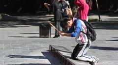 Chinese man praying, Buddhist Lama Temple Stock Footage