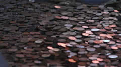 Chinese coins, Buddhist offerings, China Stock Footage