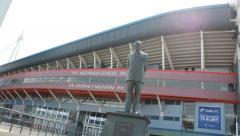 Millennium Stadium statue, Cardiff Stock Footage