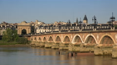 view of the stone bridge at Bordeaux - stock footage