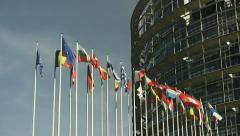 Flags of the European Union countries waving on the wind. Stock Footage