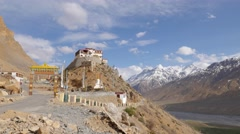 TIMELAPSE Backside Ki Gompa with Spiti Valley and clouds,Key,Spiti,India Stock Footage