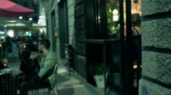 Friends sitting in the pub and chatting, steadycam shot Stock Footage
