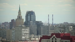 Panorama of Moscow. Summer. Roofs Stock Footage