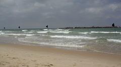 Black flags, swimming not aloud, dangerous waves, Mediterranean sea Stock Footage