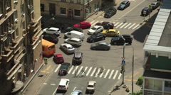 Movement of cars at the intersection. Fast shooting Stock Footage