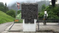 Sculpture at Hallstatt Salzwelten salt mine entry Stock Footage