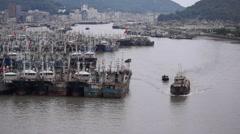 Fishing ships sailing back to Zhoushan port Stock Footage