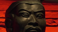 Stock Video Footage of Terracotta Army Replica Black Copy Face