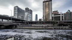 The water pollution at the Jianwai CBD of Beijing, China. special effect. Stock Footage