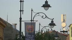 Beautiful lampposts in Sibiu Stock Footage
