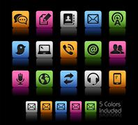 Telecommunications Icons -- ColorBox Series Stock Illustration