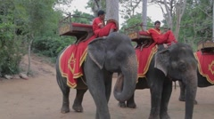 Elephant rides at Phnom Bakheng viewpoint Stock Footage