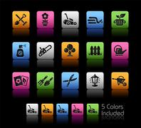 Stock Illustration of Gardening Icons -- ColorBox Series