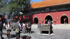 Hall of Heavenly Kings, Lama Temple, China Stock Footage