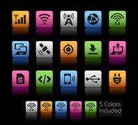 Connectivity Icons -- ColorBox Series - stock illustration